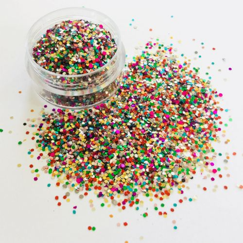1mm MULTI HEX GLITTER POT - 10g